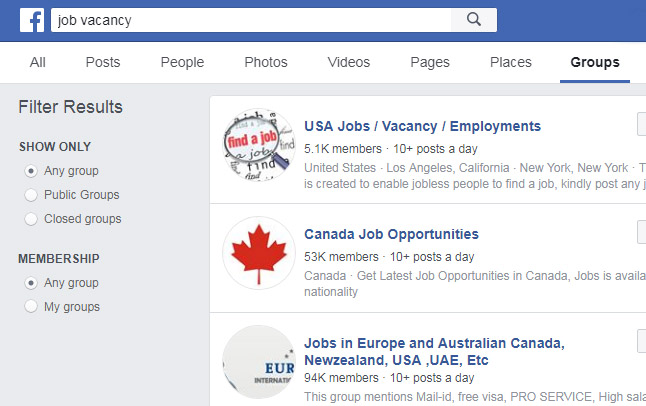 FB Jobs Search Groups