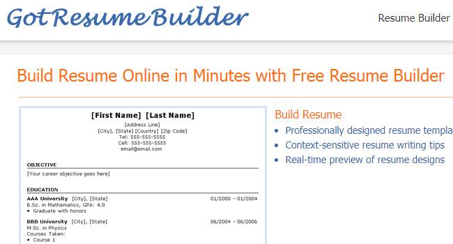 GotResumeBuilder - Online CV Builder